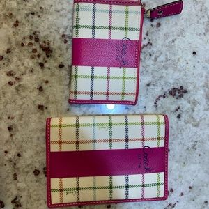 Coach plaid passport holder wallet and coin purse